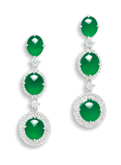 A Pair of Jadeite Cabochon and Diamond Pendent Earrings