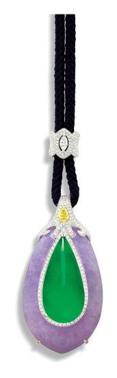 A Distinctive Jadeite, Lavender Jadeite and Diamond Pendant Necklace
