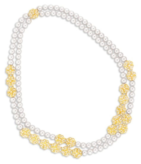 A Cultured Pearl and Diamond Necklace, Mikimoto