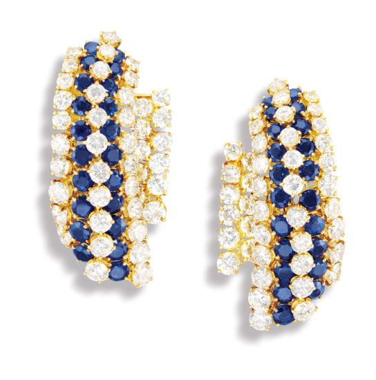 A Pair of Sapphire and Diamond Ear-clips, Van Cleef & Arpels