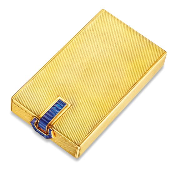 A Karat Yellow Gold and Sapphire Vanity Case, Van Cleef & Arpels, Circa 1940