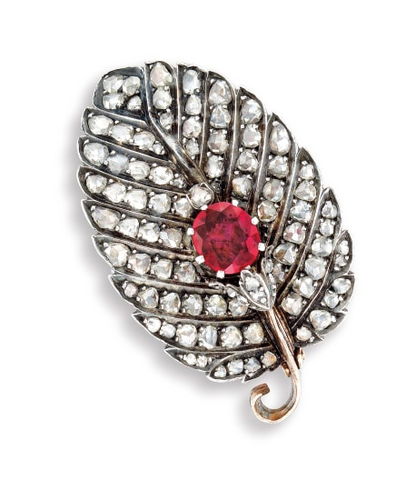 An Antique Ruby and Diamond 'Leaf' Clip Brooch