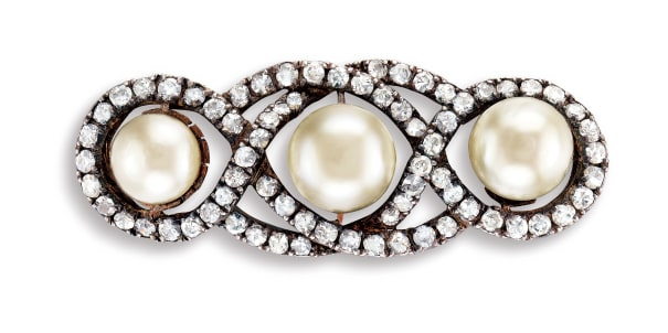 A Natural Pearl and Diamond Brooch
