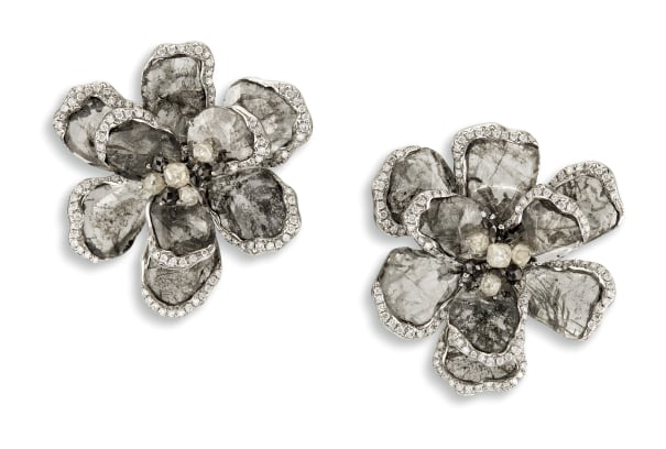 A Pair of Icy Diamond, Black Diamond and Diamond 'Flower' Ear-clips