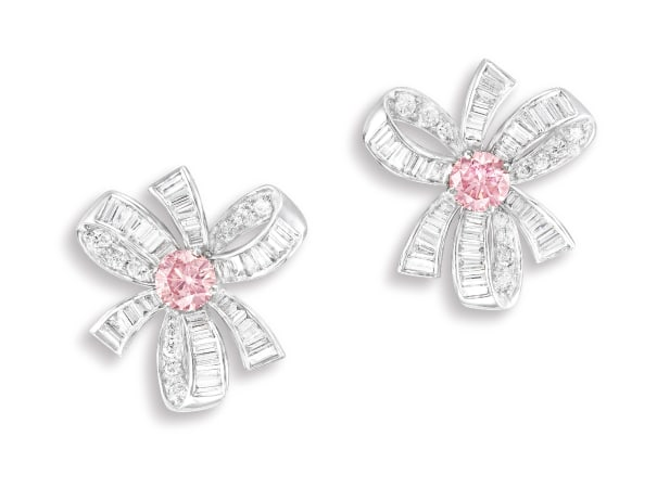 An Exquisite Pair of Fancy Intense Pink Diamond and Diamond Ear-clips