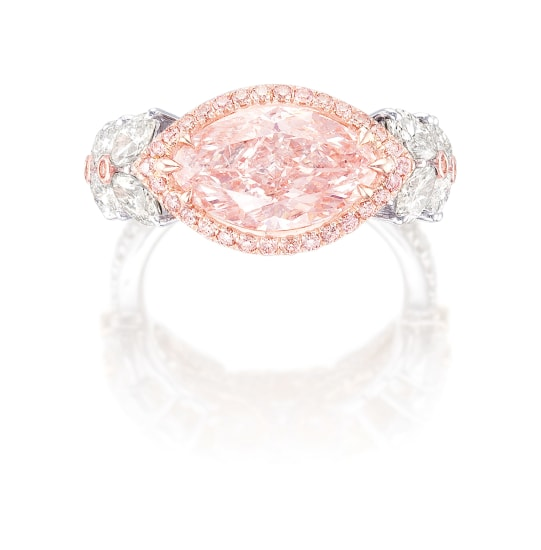 A Fancy Pink Diamond, Pink Diamond and Diamond Ring