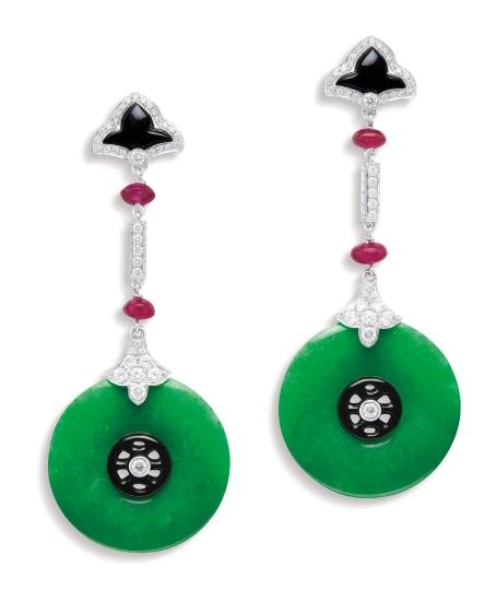 A Pair of Jadeite 'Huaigu', Gem-set and Diamond Pendent Earrings
