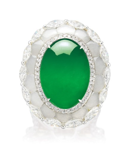 A Jadeite Cabochon, White Jade and Diamond Ring