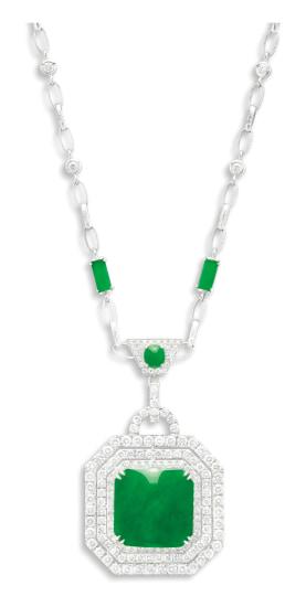 A Jadeite and Diamond Necklace