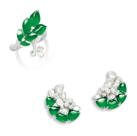 A Jadeite and Diamond Demi-parure