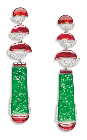 A Pair of Carved Jadeite Plaque, Ruby and Diamond Pendent Earrings, Karen Suen