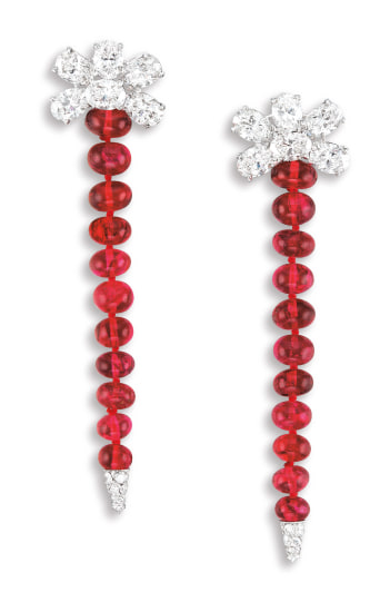 A Pair of Spinel and Diamond Pendent Ear-clips, Bulgari
