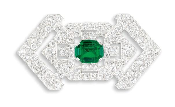 An Art Deco Emerald and Diamond Brooch, Cartier Paris, Circa 1930