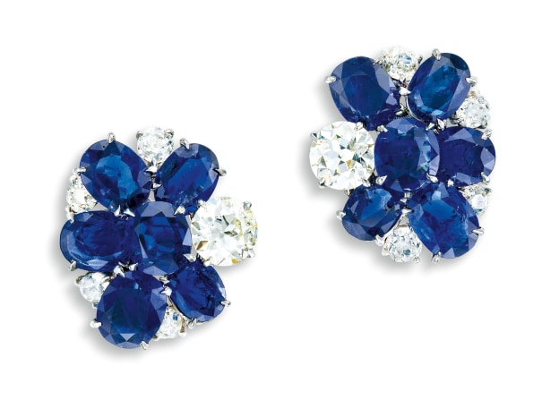A Pair of Sapphire and Diamond Ear-clips