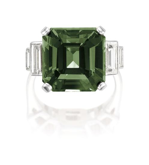 An Alexandrite Chrysoberyl and Diamond Ring