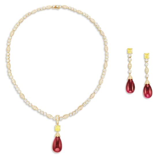 A Ruby, Yellow Diamond and Diamond Demi-parure, Cartier, Circa 1980
