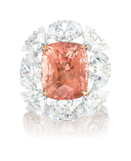 A Rare and Exceptional Padparadscha Sapphire and Diamond Ring
