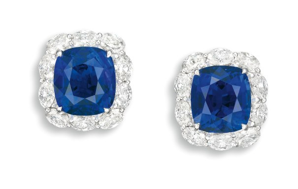 A Fine Pair of Sapphire and Diamond Ear-clips