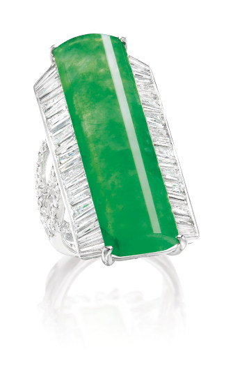 A Curved Jadeite Plaque and Diamond Ring