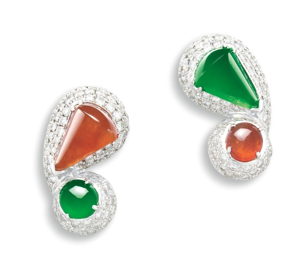 A Chic Pair of Jadeite, Red Jadeite and Diamond 'Mismatched' Ear-clips