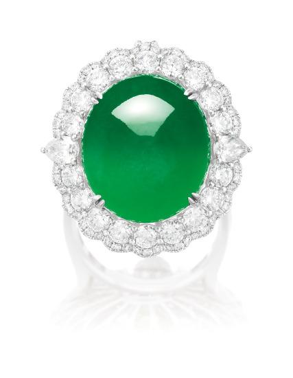 A Jadeite Cabochon and Diamond Ring/ Pendant