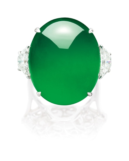 An Impressive Jadeite Cabochon and Diamond Ring