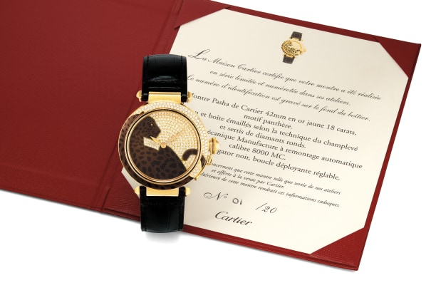 A Limited Edition Karat Yellow Gold, Enamel and Diamond Automatic Wristwatch, Pasha, Cartier, Circa 2010