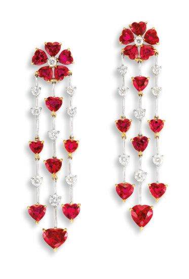 An Exquisite Pair of Ruby and Diamond Pendent Earrings