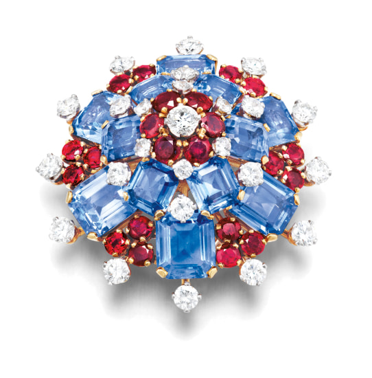 A Retro Ruby, Sapphire and Diamond Brooch, Bulgari, Circa 1958