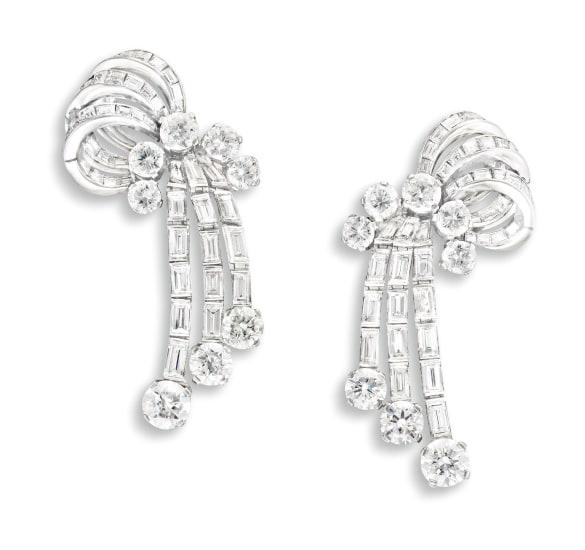 A Pair of Diamond Pendent Ear-Clips, Circa 1950