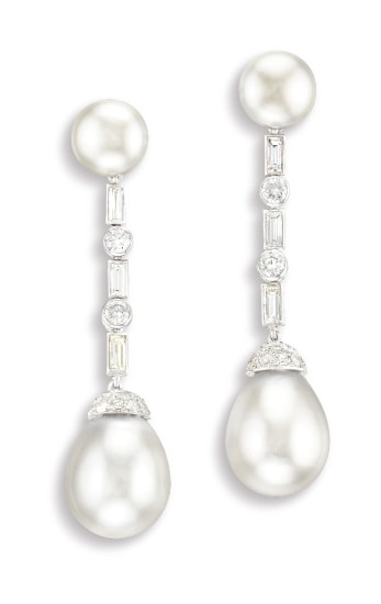 A Very Fine Pair of Natural Pearl and Diamond Pendent Ear-clips, Cartier London