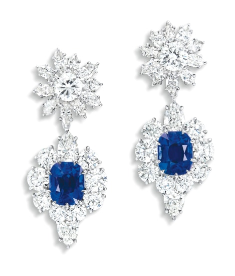 A Rare and Fine Pair of Sapphire and Diamond Pendant Ear-clips, Ear-clips Signed Harry Winston