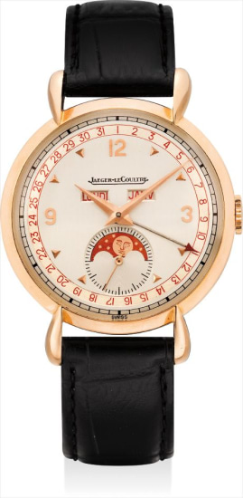 A fine and rare pink gold triple calendar wristwatch with moon phases, two-tone dial and tear-drop lugs