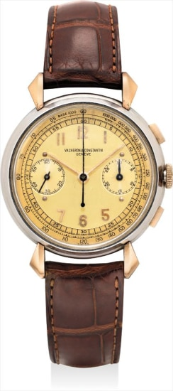 An extremely fine and exceptional pink gold and stainless steel chronograph wristwatch with two tone champagne dial and certificate of autheticity