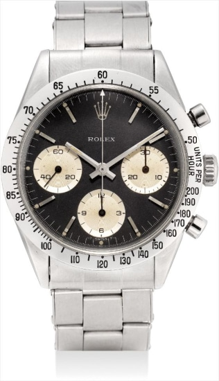 A very fine and very rare stainless steel chronograph wristwatch with bracelet