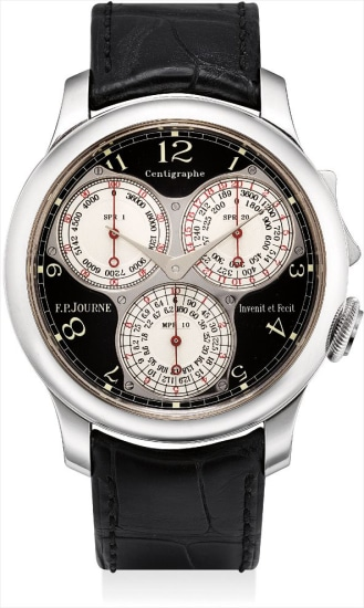 A very fine and rare platinum ergonomic chronograph wristwatch with 100th of a second, 20 seconds, 10 minutes registers and black lacquer dial, made exclusively for the F.P. Journe boutiques worldwide