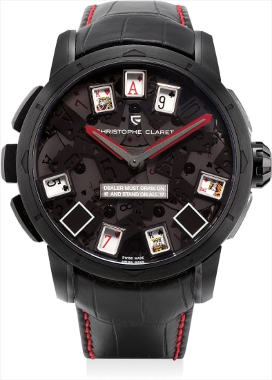 A very fine and rare black PVD-coated titanium limited edition wristwatch with striking hammer, gong and three games: Blackjack, Dice and Roulette