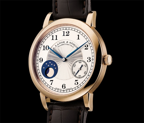 A very fine and rare honey gold limited edition wristwatch with moon phases, made to commemorate the 165th anniversary of A. Lange & Söhne in 2010