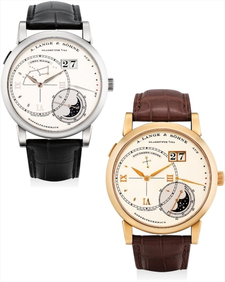 A very fine and rare limited edition set comprising one white gold and one pink gold twin barrel wristwatch with date, power reserve and moon phases display of the Southern and Northern hemispheres