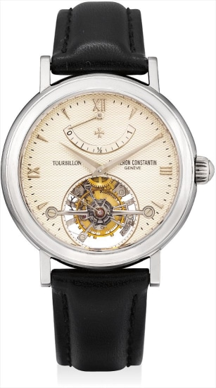A fine and rare platinum tourbillon wristwatch with power reserve