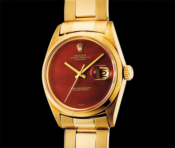 A fine and rare yellow gold wristwatch with sweep centre seconds, date, agata hardstone dial and bracelet