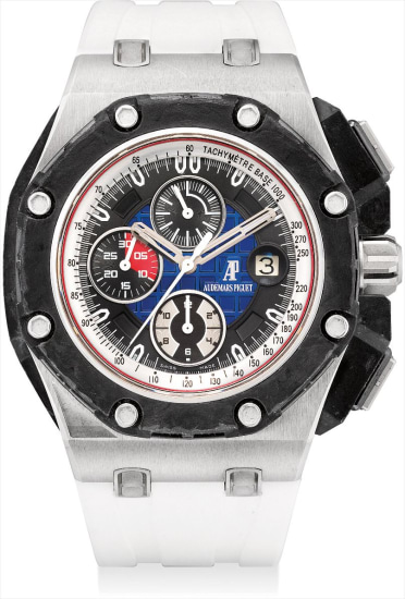A fine and very rare platinum, forged carbon and ceramic limited edition chronograph wristwatch with date