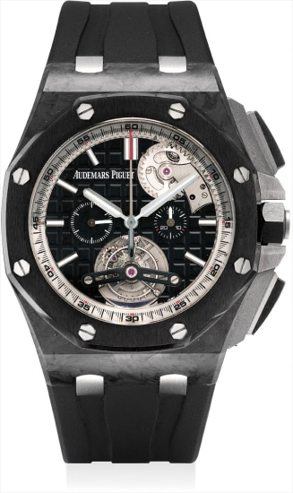 A very fine and rare forged carbon and ceramic limited edition tourbillon chronograph wristwatch with unusual automatic winding