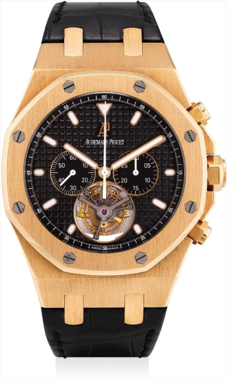A fine and very rare pink gold tourbillon chronograph wristwatch