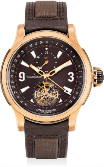 A rare pink gold and titanium limited edition dual time tourbillon wristwatch with date