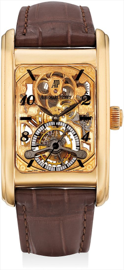 A very fine and rare pink gold skeletonised tourbillon rectangular wristwatch