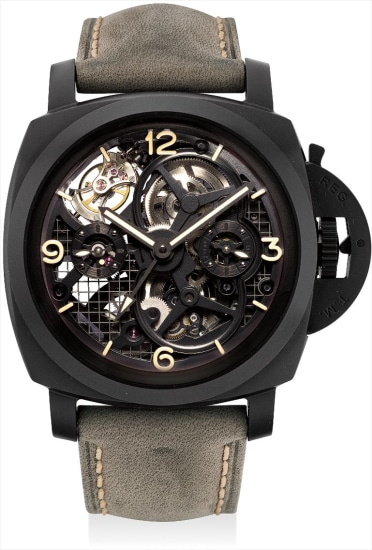 A very fine and rare ceramic limited edition skeletonised perpendicular rotating tourbillon dual time cushion-shaped wristwatch with day and night indicator and power reserve