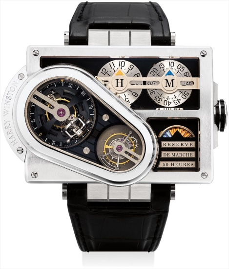 An extremely fine, unusual and heavy white gold and zalium limited edition triple tourbillon rectangular wristwatch with 50 hour power reserve