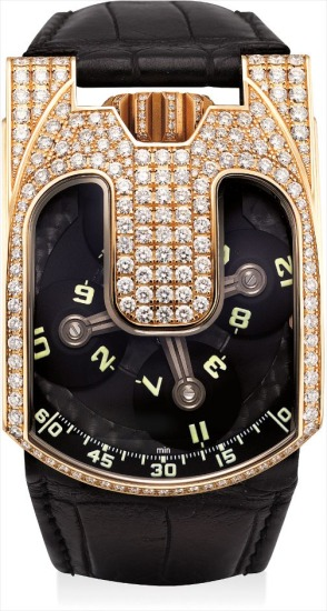 A fine and rare pink gold and diamond-set chronometer wristwatch with 3-dimensional satellite hour display and power reserve