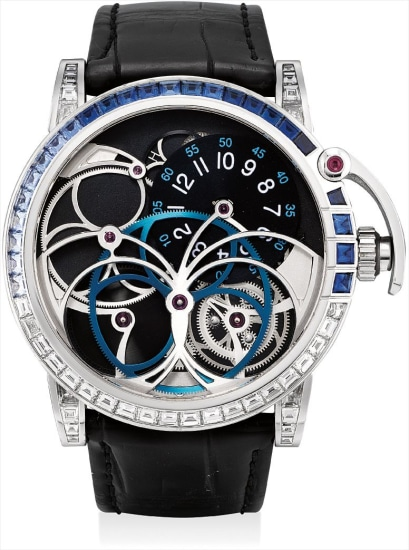 A very fine and unique white gold, diamond and sapphire-set semi-skeletonised wristwatch with power reserve